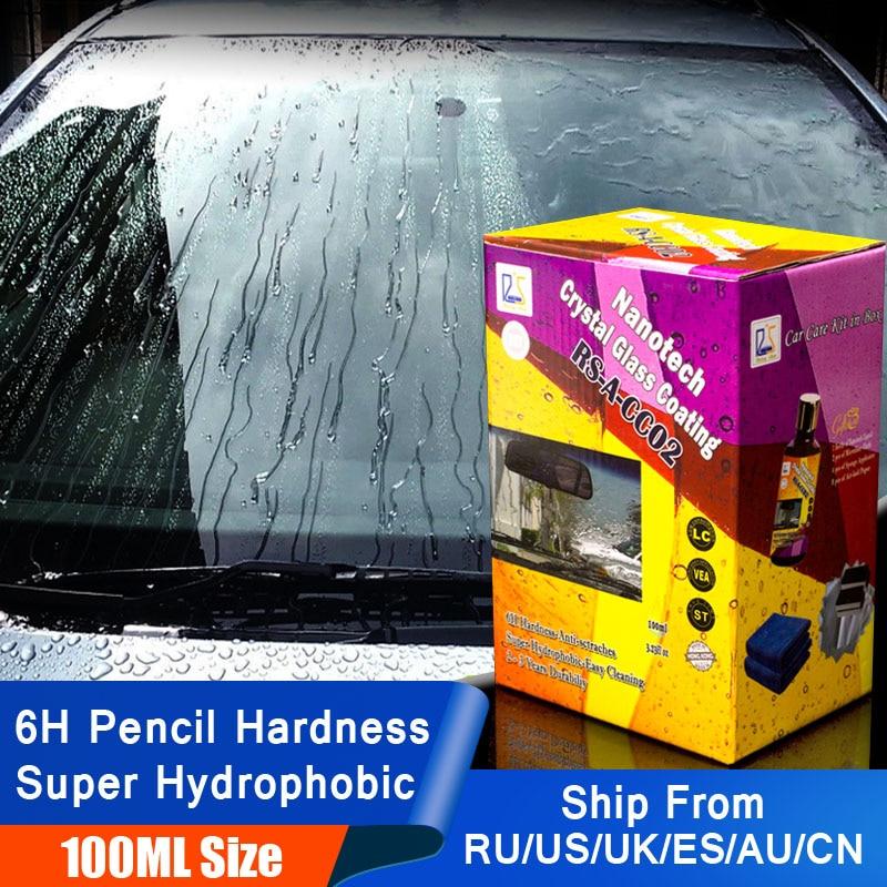 Estrela em ascensão RS-A-CC02 Nanotech Revestimento De Vidro De Cristal 100 ml Kit para DIY usuário 6 H Vidro hidrofóbico Nano Líquido para limpeza de janelas