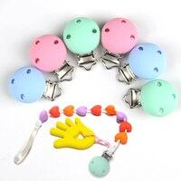 10 piezas DIY Color redondo silicona bebé chupete cadena Clips chupete accesorios de lactancia