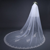 2018 New 3M Lace Appliques Edge Cathedral Length Bridal Veil Long Wedding Blusher Veil Cathedral Wedding Accessories