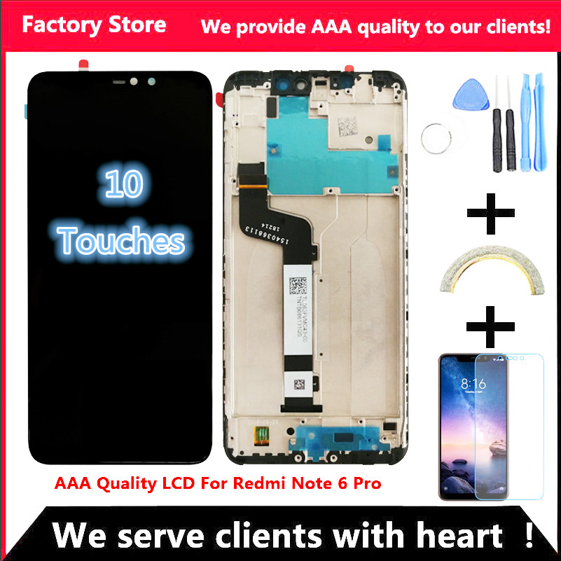 10 Touch Tested AAA Quality LCD Frame For Xiaomi Redmi Note 6 Pro LCD Display Screen 10-Touch Tested AAA Quality LCD+Frame For Xiaomi Redmi Note 6 Pro LCD Display Screen Replacement For Redmi Note 6 Pro LCD