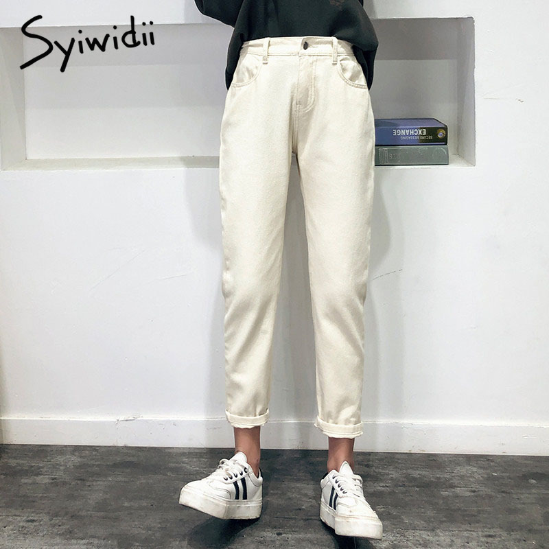 high waist   jeans   woman mom   jeans   Pink beige brown black plus size boyfriend   jeans   for women 2019 new spring summer harem pants