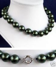 lady's women's jewelry silver Rare Huge 16mm South Sea Black Shell Pearl Necklace AAA+