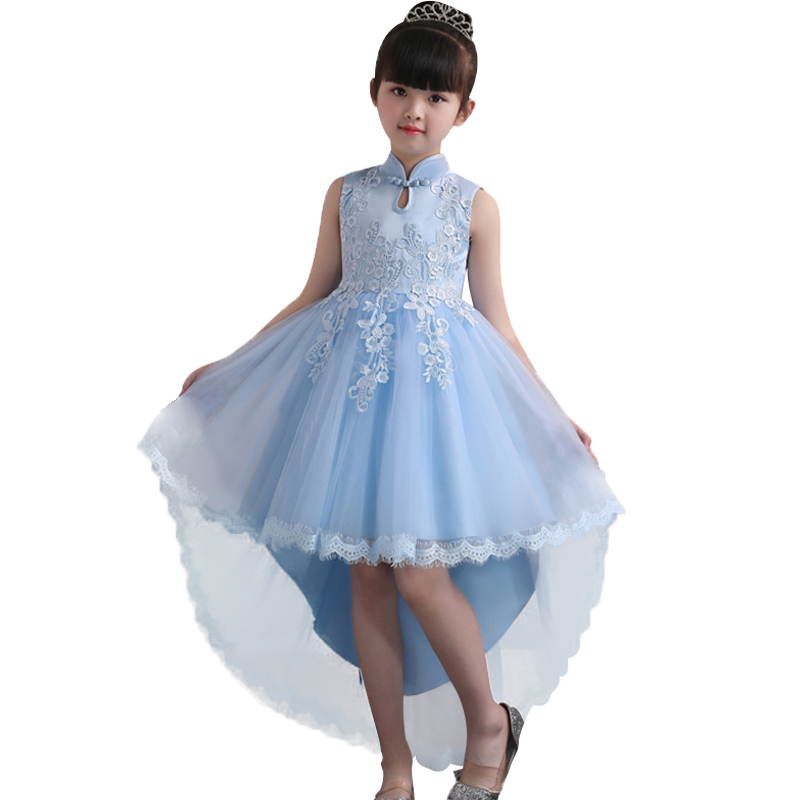 Evening Dress Trailing Stand Collar Children Clothing Flower Girl Wedding Clothes First Communion Princess Dress Baby Costume