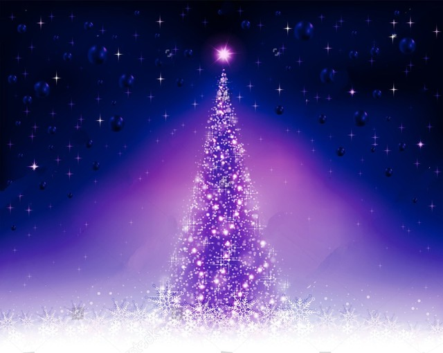 Christmas tree violet purple blue balls snowflakes bokeh - Purple christmas desktop wallpaper ...