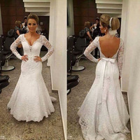 2016 Saudi Arabia V Neck Applique Lace Wedding Dresses Vintage Long Sleeve Mermaid Backless Sexy Bridal Gowns New Design