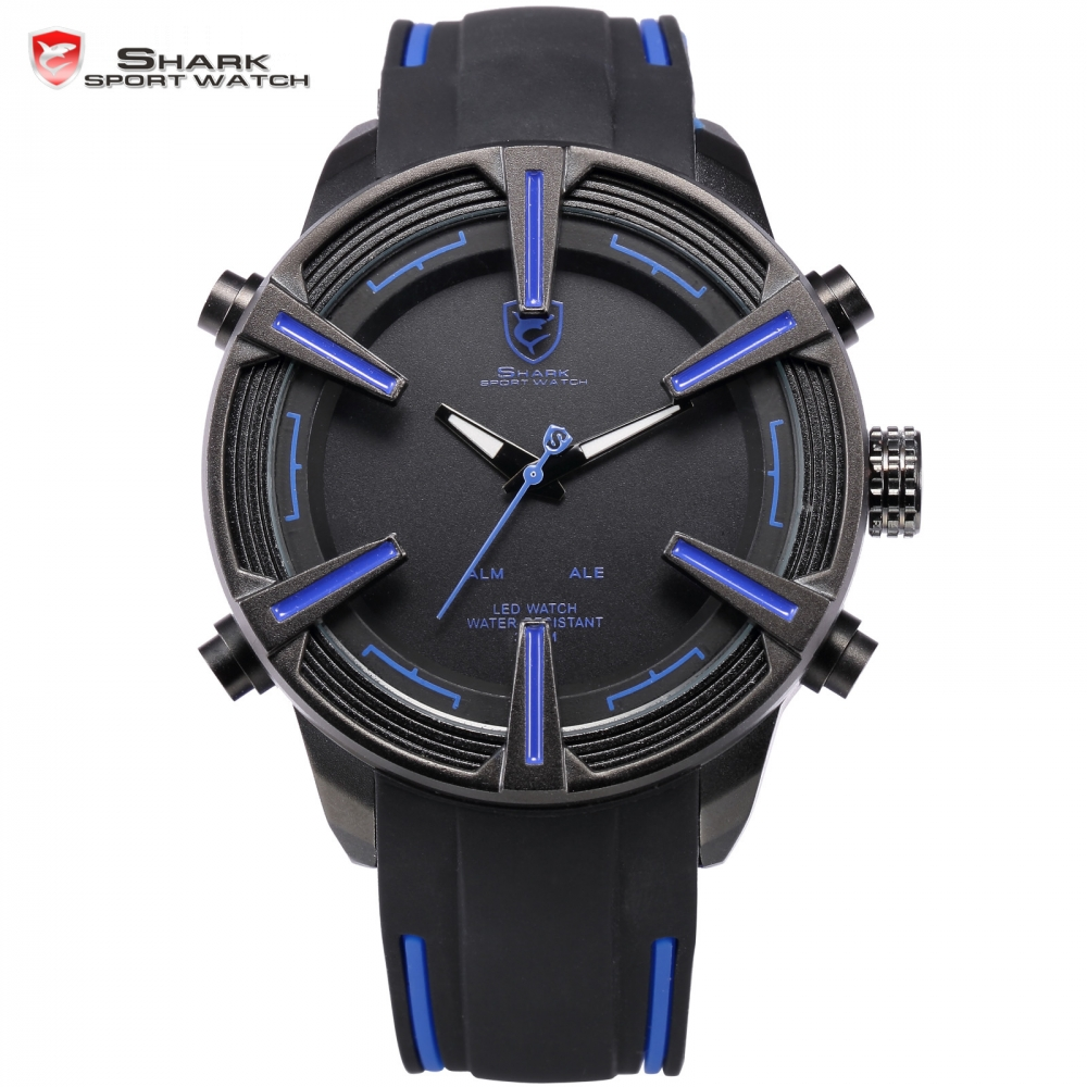 Luxury Brand New Shark Sport Watch Men Auto Date Day LED Alarm Black Blue Silicone Band Analog Quartz  Digital Tag Watch / SH386 shark army brand new auto date day display leather band relogio analog montre homme men quartz sport military wristwatch saw122
