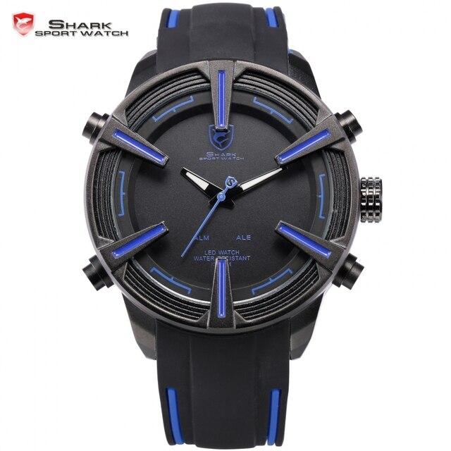 Luxury Brand New Shark Sport Watch Men Auto Date Day LED Alarm Black Blue Silicone Band Analog Quartz  Digital Tag Watch / SH386