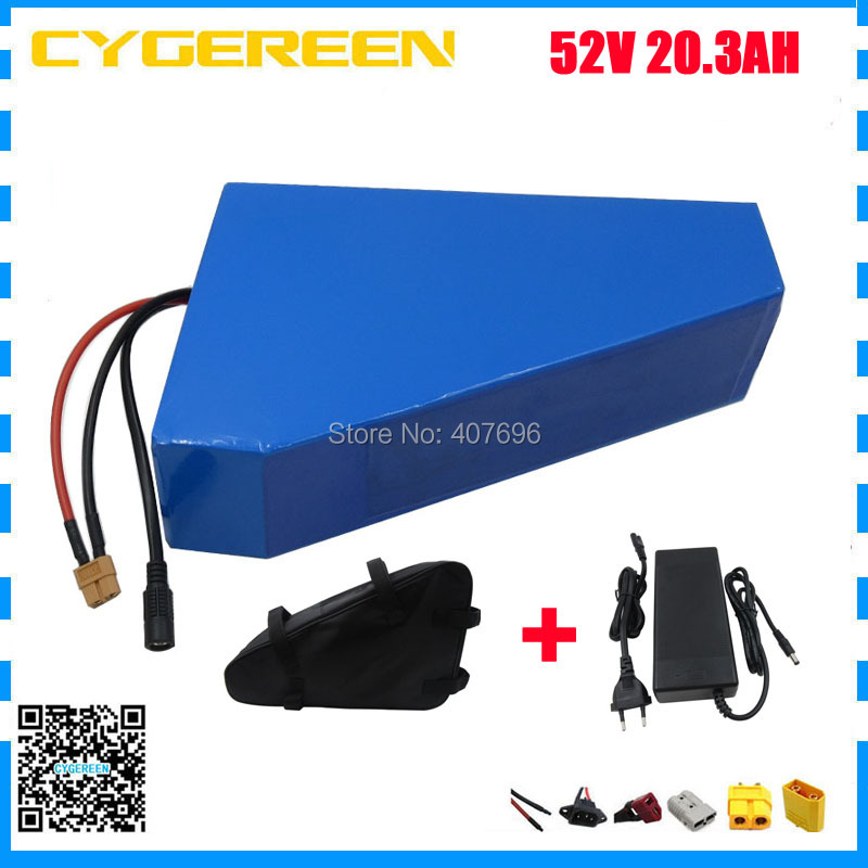 1500W 52V 20.3AH lithium battery pack 52V triangle battery 51.8V 20.3AH 14S Batteries use Panasonic 2900mah cell with free bag customize 51 8v 35ah lithium ion battery triangle style 52v 1500w electric bike battery with bag bms for sanyo ga3500 cell