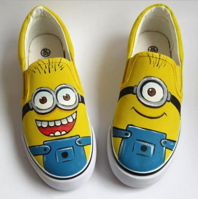2017 funny Cartoon Kids Shoes Boys Hand-painted Canvas Shoes For Girls Top Sneakers School Boys Shoes Children Sneakers