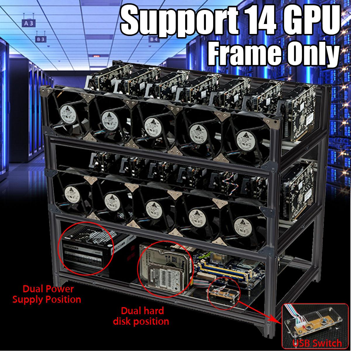 8 GPU Open Air Mining Rig Case Rack Miner Frame For Ethereum ETH//ZEC//Bitcoin