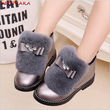 2017 Girls princess Winter Leather shoes for Party or Wedding Baby Girl Fashion Fur Bow Waterproof Girls New brand Leather Shoes