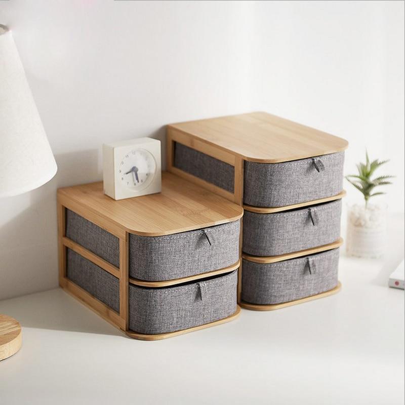 Bambou bois gris tiroir de rangement bureau nordique articles divers superposable tissu boîte de rangement maquillage conteneur maison organisateur décor