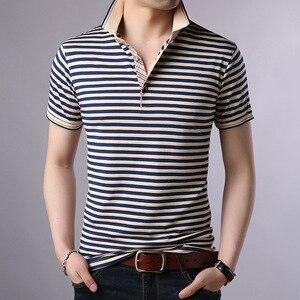 Image 1 - Thoshine 브랜드 여름 남성 우수한 폴로 셔츠 95% Viscose 패션 스트라이프 폴로 셔츠 통기성 인과 Camisa 턴 다운 칼라