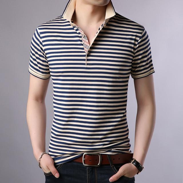 Thoshineブランド夏男性優れたポロシャツ 95% ビスコースファッションストライプポロシャツ通気性因果カミーサターンダウン襟