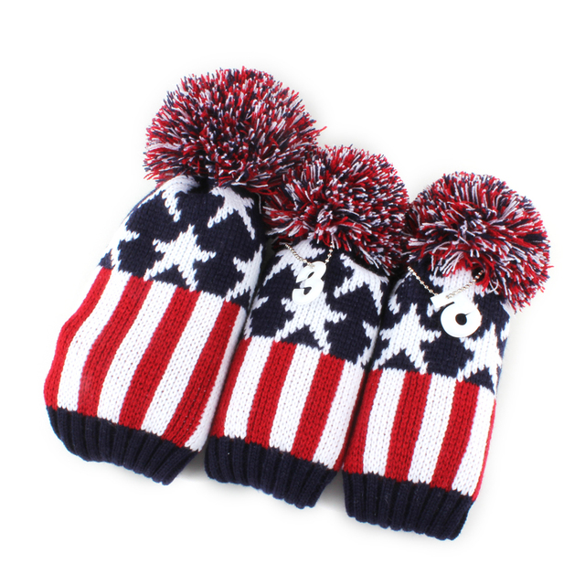 a68cc4f6492f9 Blue Red White Star Kniting Head Covers Wool Pompom Golf Club Headcovers  for Driver Fairway 3 Wood Free Shipping