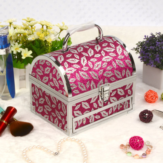 New quality hot selling Make up Box with mirror Makeup Case Beauty Case Cosmetic Bag Multi Tiers Lockable Jewelry Box