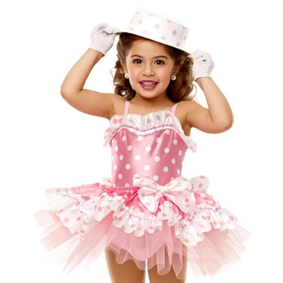 Free ship childrens girl pink polka dot magician stage performance ballet leotard tutu dress halloween costume/not include hat