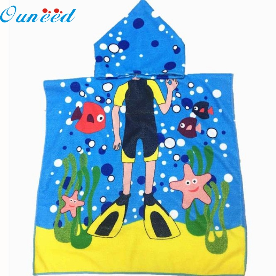 E25 JA 5 Hooded Towel for Kids Toddlers Bath Wrap Beach Poncho with Hood Robe Baby