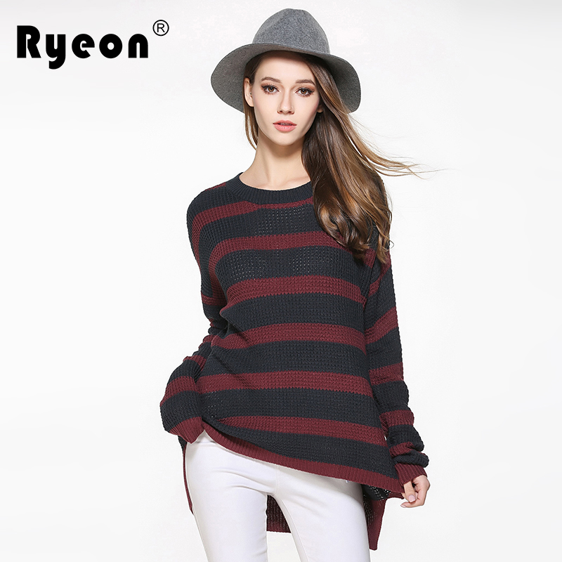 Ryeon Striped Pullovers Sweater Women Plus Size Casual Autumn Winter Spring O Neck Fashion Christmas Sweater 5xl Jumper Pullover
