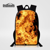 Dispalang 16 Inch School Bags For Elementary Students Cool Fire Blaze Design Backpack Male Daily Daypacks