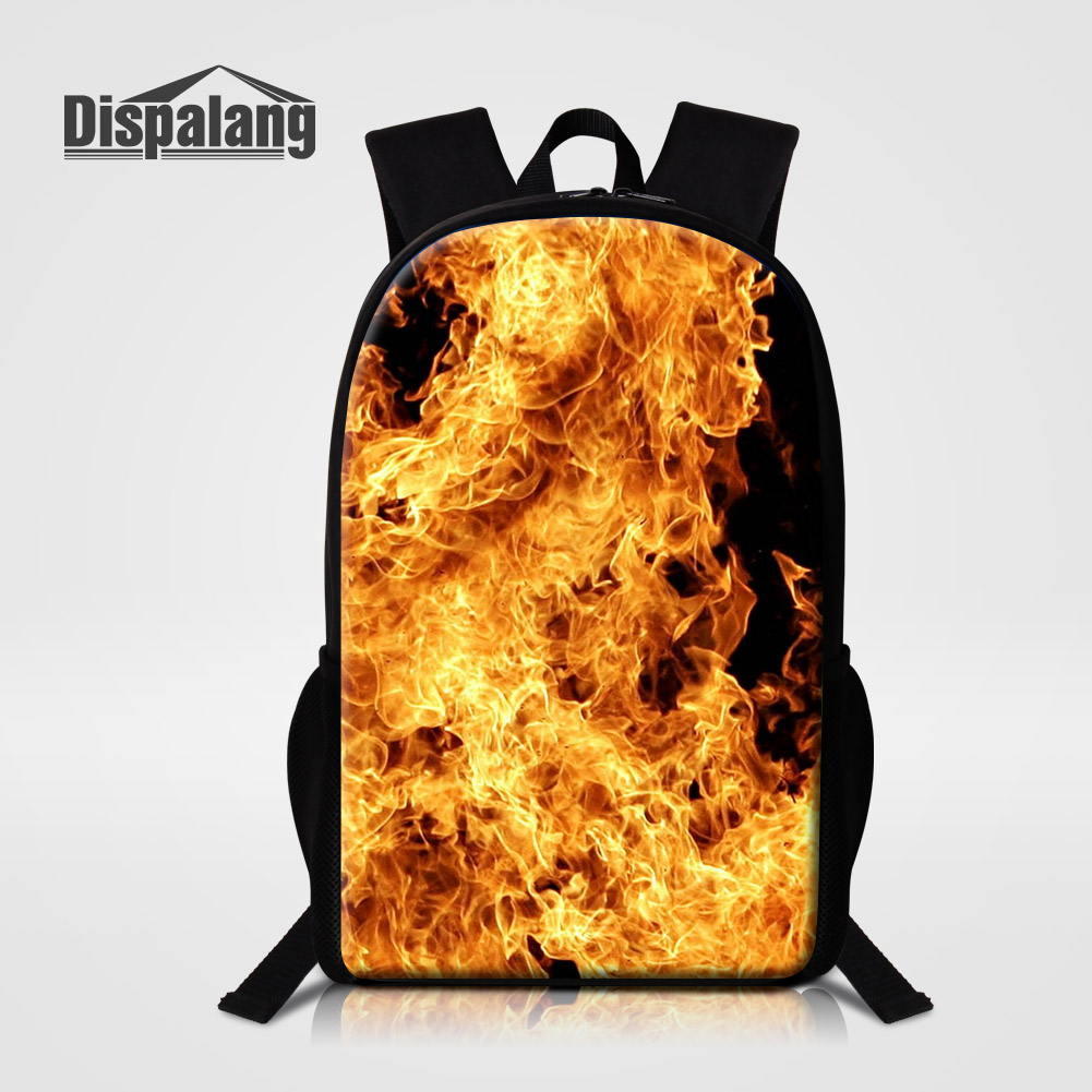 Dispalang 16 Inch School Bags For Elementary Students Cool Fire Blaze Design Backpack Male Daily Daypacks Children Bagpacks Pack