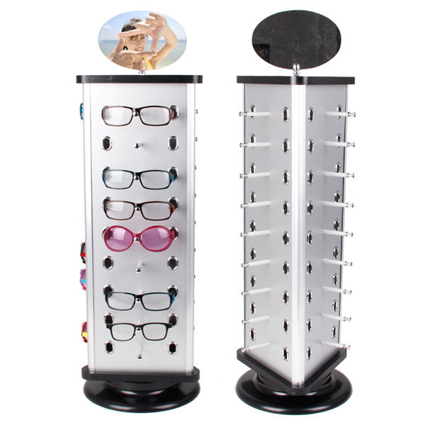 1pc Expedited Shipping Metal Rotating Sunglass Display Rack Glasses Stand Holder With Mirror For 27 Pairs mordoa wholesale rotating white plastic sunglass display stand holder glasses rack for 28 pairs