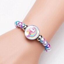 Детские браслеты с изображением единорога украшение на нитке камень браслет Единорог браслет подарок на день рождения детский браслет
