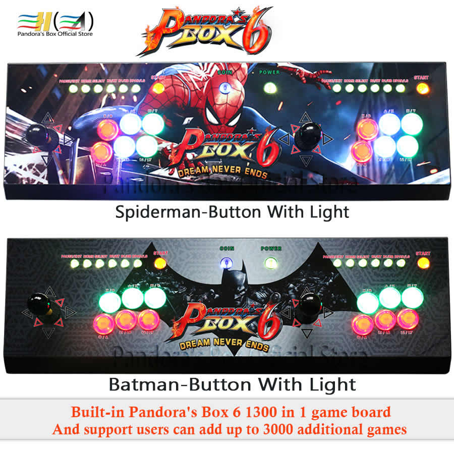 Pandora Box 6 1300 in 1 arcade game console kit arcade 2 players Can add 3000 games HDMI VGA usb joystick for pc video game ps3
