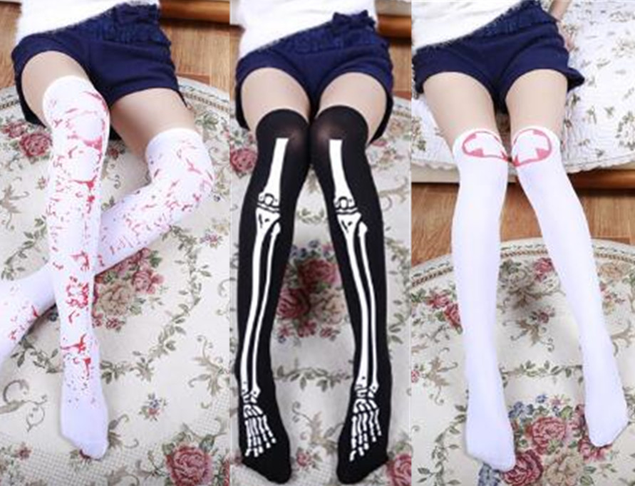 2018 NEW Halloween Party Women Girl Cosplay Nurse Blood Skull Stockings High Elastic Over Knee Pantyhose Hosiery