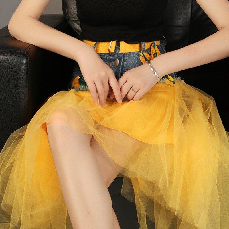 yellow Des Skirt Midi Haute Black Taille Vêtements Ceintures D'été Maille Paillettes Irrégulière Denim Jupes Patchwork Skirt Tutu Femelle Avec Twotwinstyle Casual Jupe pRqwF81Sx