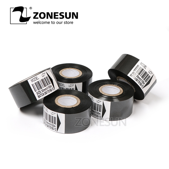Thermal ribbon of ribbon printing machine, 30*100m, date code ribbon printer accessory, printing ribbon for plastic and paper