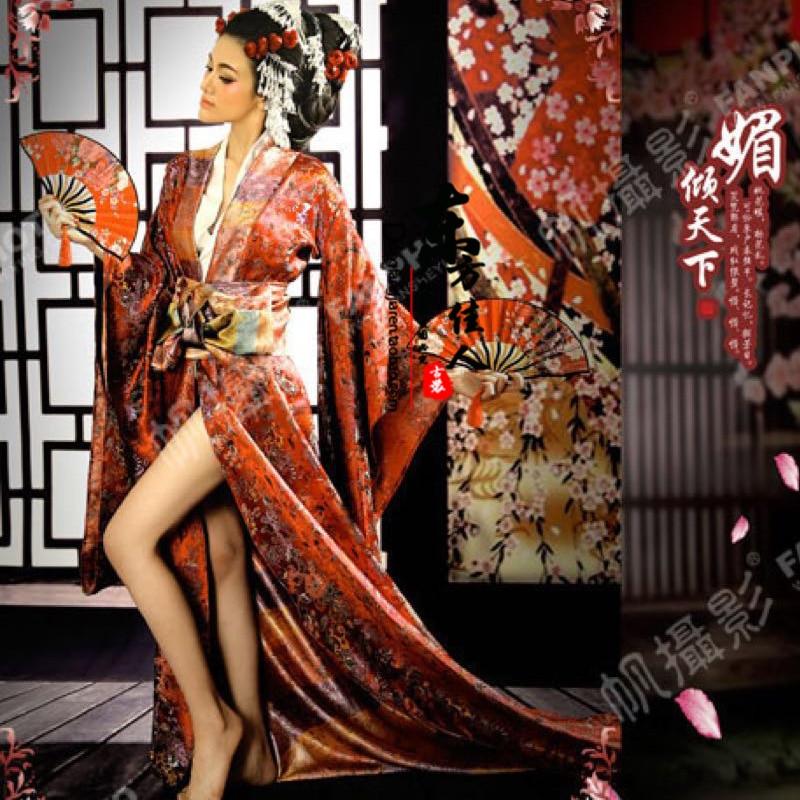 Mei Qing Tian Xia Sexy Japanese Geisha Kimono For Performance Or Thematic Photography Costume Hanfu For Women