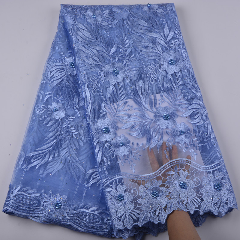 Latest Sky Blue French Nigerian Laces Fabrics High Quality Tulle African Laces Fabric African French Tulle