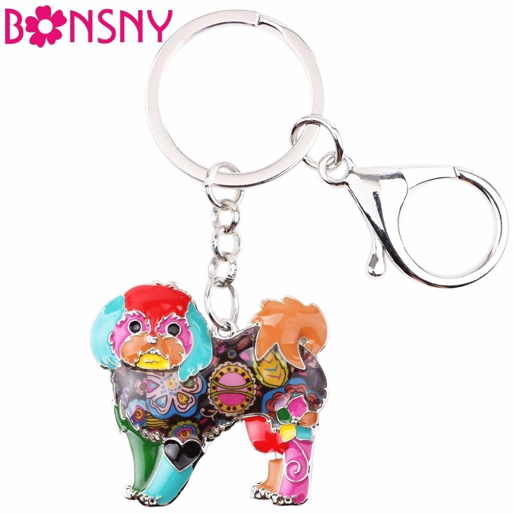 Bonsny Enamel Alloy Shih Tzu Dog Key Chain Keychains Ring Gift For Women Girls Bag Car Charms Pendant Fashion Animal Jewelry New