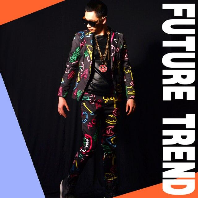 Мужские костюмы (куртка + брюки) костюм певица dancer показать партия Мужской dj костюмы тонкий пиджак ds бар пром свадебный пиджак брюки набор