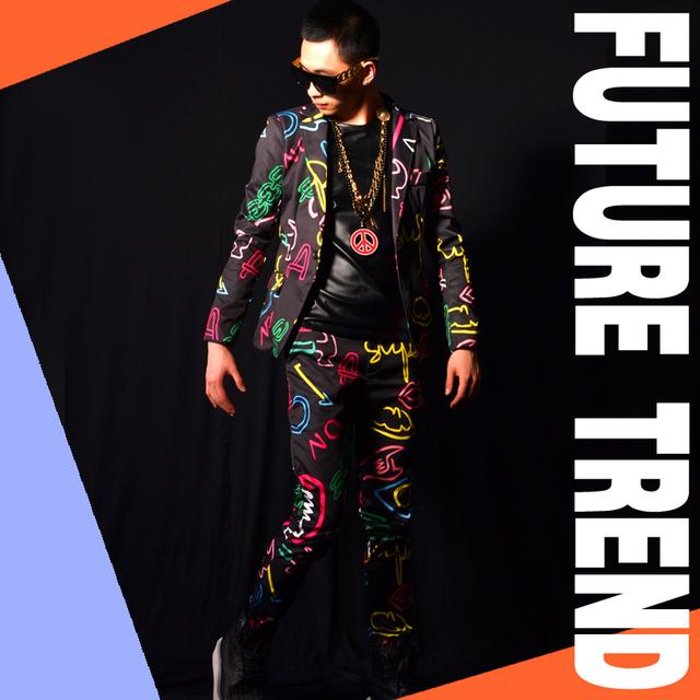 Homens ternos (paletó + calça) trajes dj traje cantor dancer mostrar partido Masculino casaco fino ds bar prom casamento calças blazer ajustado