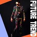 Trajes de hombre (chaqueta + pantalones) traje trajes dj cantante dancer mostrar partido Masculino chaqueta delgada ds bar de baile de la boda chaqueta pantalones set