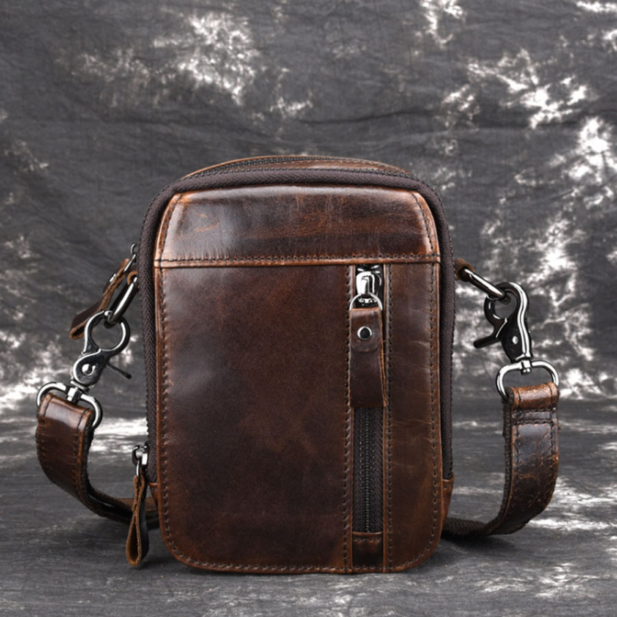 New Men's Oil Wax Genuine Leather Fanny Waist Bag Cell/Mobile Phone Coin Purse Pocket Belt Cross Body Messenger Shoulder Bags ланч бокс iris kids i9929 tn 15x15cm orange