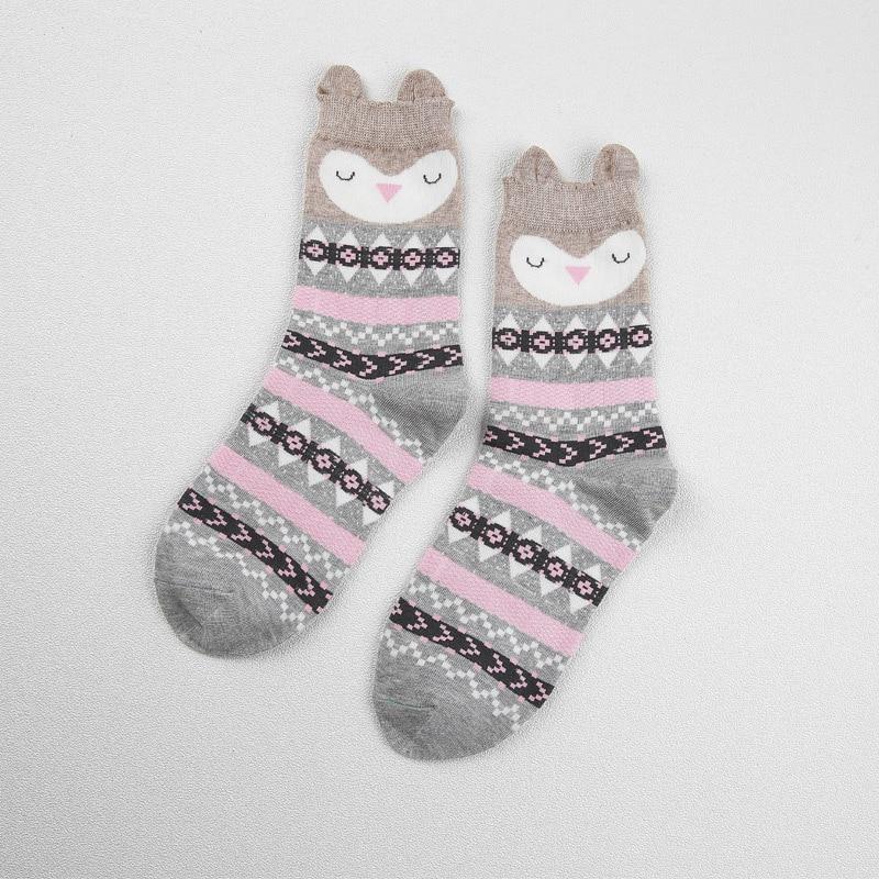 [PEONFLY] New real caramella character cotton brand meias Cute Owl femininas warm cute cartoon korean socks for women 2 PAIR