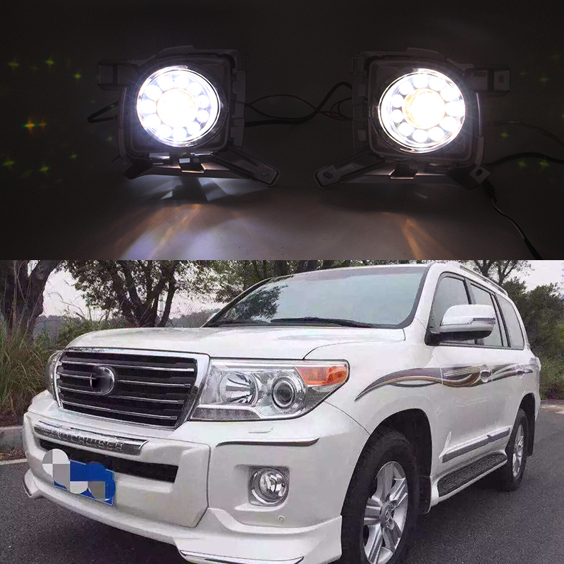 Car Flashing 2Pcs For Toyota Land Cruiser FJ200 LC200 2012 2013 2014 2015 Daylight Car LED