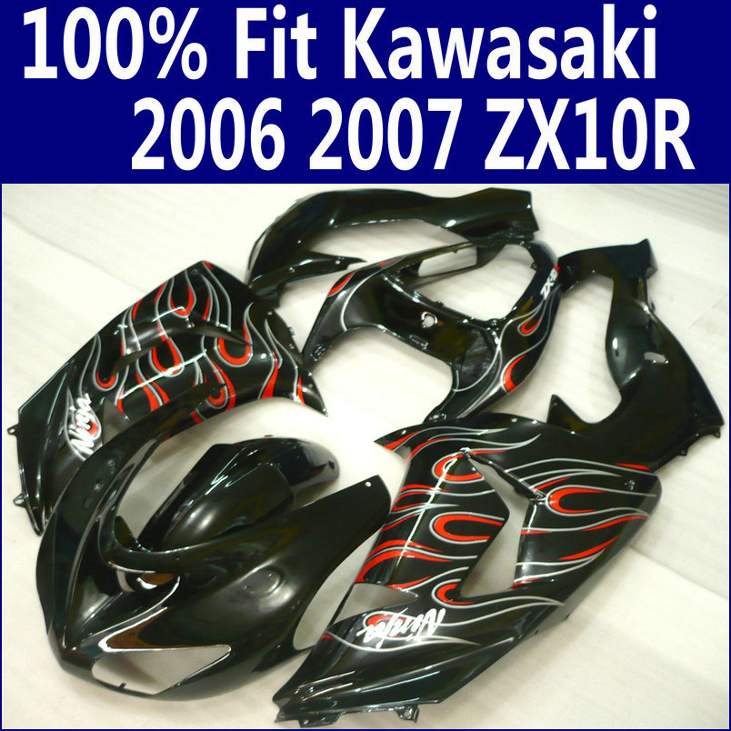 Plastic Fairing kit for Kawasaki ZX10R 2006 2007 red flames in black customize fairings set Ninja ZX-10R 06 07 ZS21 +7 gifts
