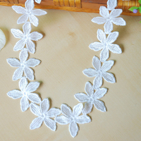 DoreenBeads 13 5m White Flowers Lace Ribbon Tape Cotton Webbing Sewing Applique Supplies For Dress Hairband