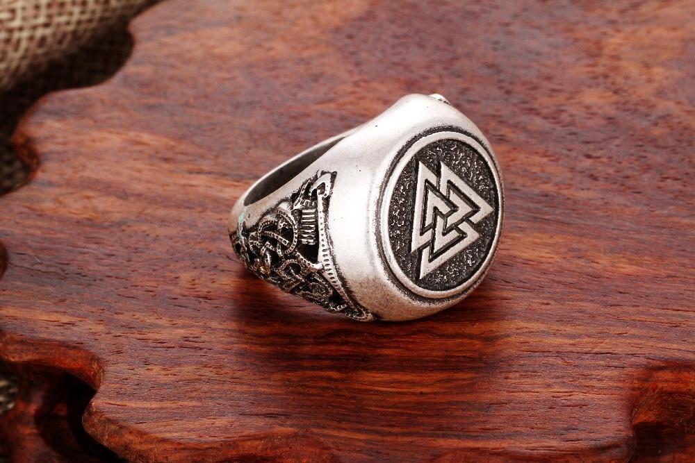Valknut Odin/'s Ring symber Triskele Anneau Noir Thor Marteau Viking Bijoux