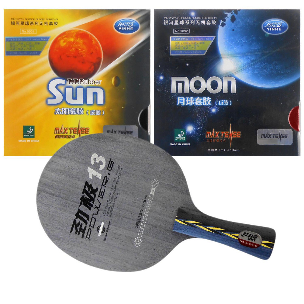Combo Racket DHS POWER.G13 PG13 PG.13 PG 13 with Galaxy YINHE Sun and Moon Factory Tuned Long shakehand FL paris combo