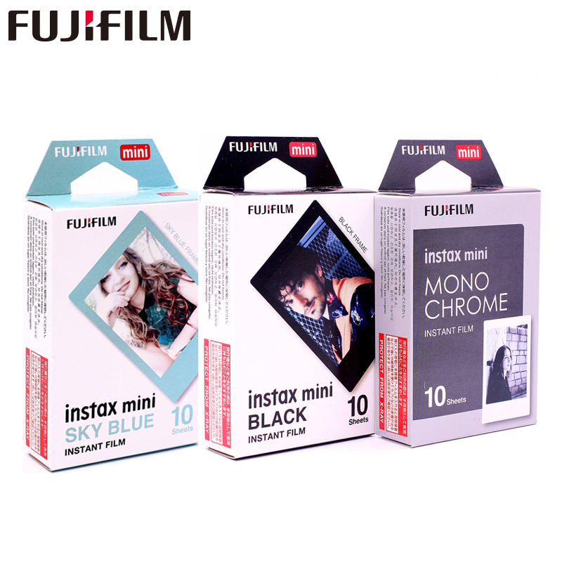Fujifilm Instax Mini8 Film Monochrome Mono + Cadre Noir + Ciel Bleu Film Photo Pour Mini 7 8 9 25 70 90 Film Caméra SP-1 SP-2