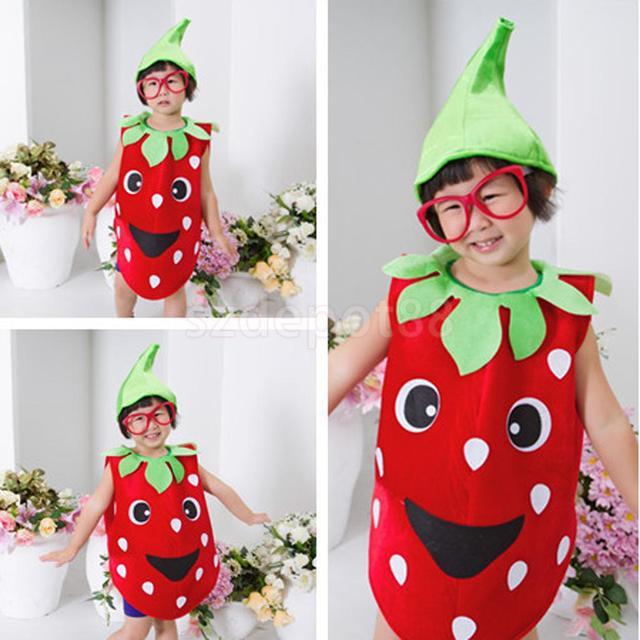 49f80775801e Kids Toddler Strawberry Fruit Costume Fancy Dress Outfit Party ...