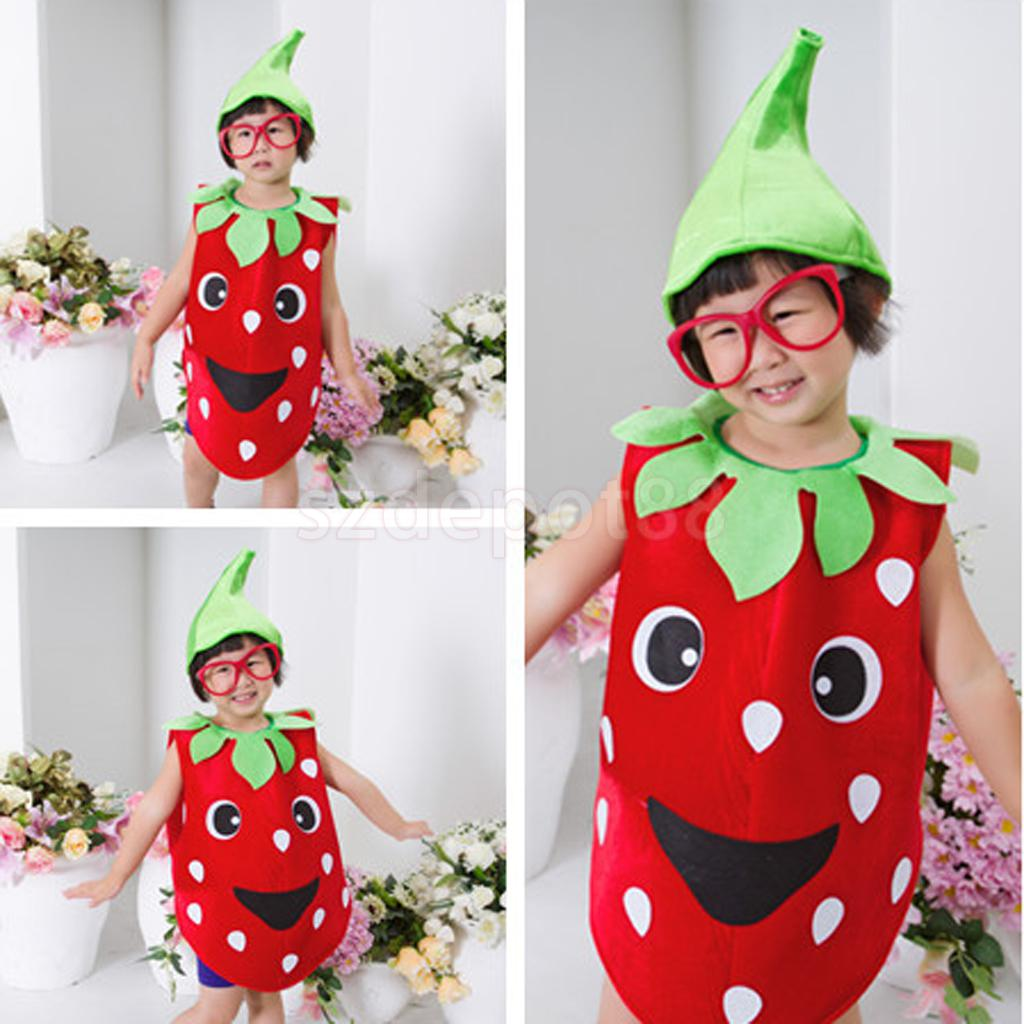 Kids Toddler Strawberry Fruit Costume Fancy Dress Outfit Party Halloween Dress Up