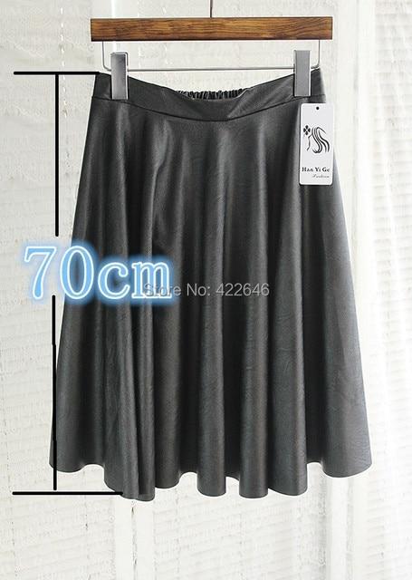 Vintage de cintura alta falda plisada del busto de LA PU imitación de cuero de las mujeres falda de la extensión faldas (A2395)