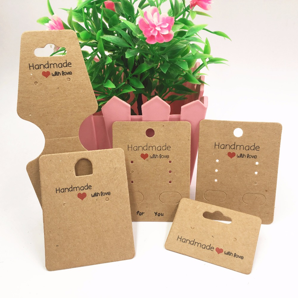 100pcs Kraft paper handmade with love jewelry cards,necklace\earring\Hairpin packing cards holder set jewelry displays card tags 100pcs white cardboard paper blank cards handmade post card diy cards paper crafts scrapbooking free shipping 60mm 026011013