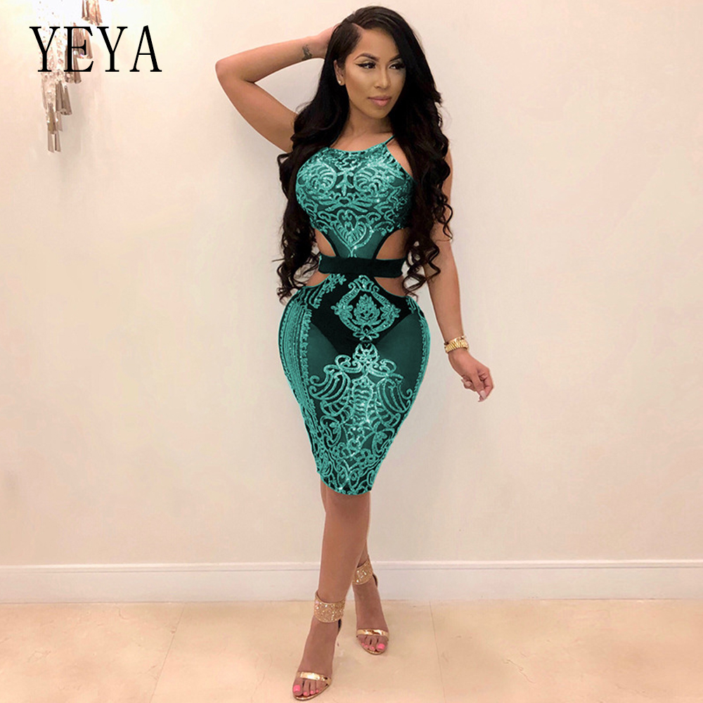 Glitter Sequin Dress Women Sleeveless Halter Sexy Little Black Dress Night Club Celebrity Party Wear Backless Bodycon Mini Dress Reasonable Price Women's Clothing